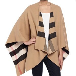 BURBERRY CHARLOTTE REVERSIBLE WOOL CHECK CAPE.